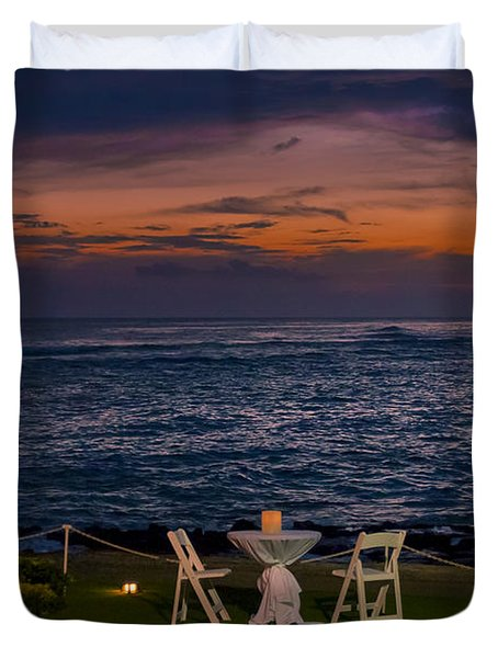 Dinner Setting In Paradise Duvet Cover by Darcy Michaelchuk