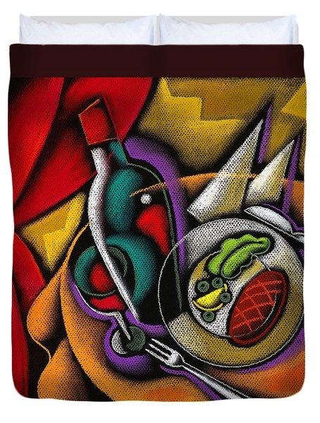 Dinner With Wine Duvet Cover by Leon Zernitsky