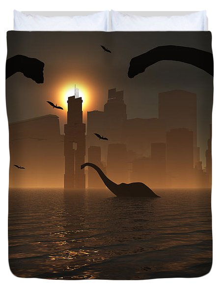Dinosaurs Feed Near The Shores Duvet Cover by Mark Stevenson