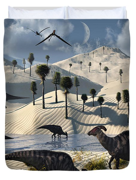 Dinosaurs Gather At A Life Saving Oasis Duvet Cover by Mark Stevenson