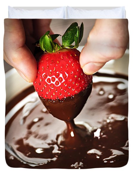 Dipping Strawberry In Chocolate Duvet Cover by Elena Elisseeva