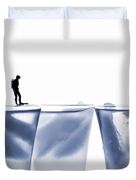 Diving In Ice Water Duvet Cover by Paul Ge