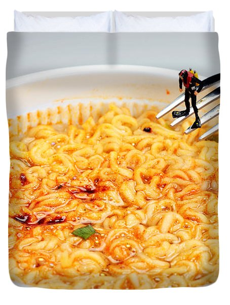 Diving In Noodle Soup Duvet Cover by Paul Ge