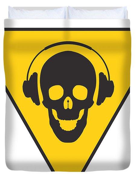 Dj Skull On Hazard Triangle Duvet Cover by Pixel Chimp