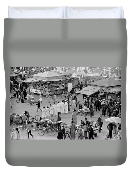 Duvet Cover featuring the photograph Djemaa El Fna Marrakech Morocco by Tom Wurl