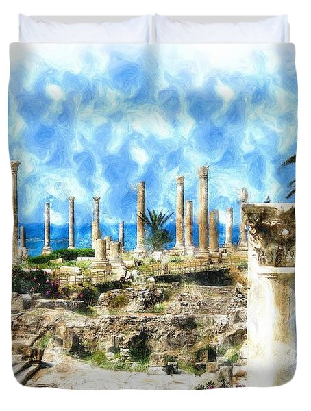 Do-00550 Ruins And Columns Duvet Cover
