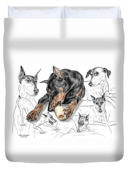 Dober-thoughts - Doberman Pinscher Montage Print Color Tinted Duvet Cover by Kelli Swan