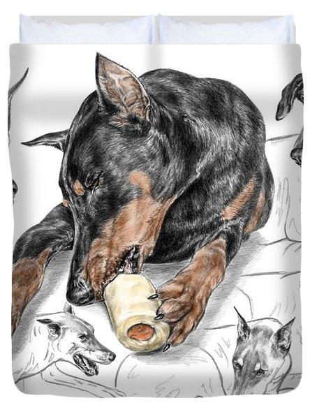Dober-thoughts - Doberman Pinscher Montage Print Color Tinted Duvet Cover