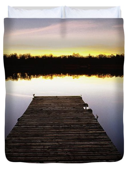 Dock At Sunset Duvet Cover by Gareth McCormack