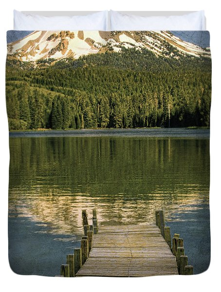 Dock On Mountain Lake Duvet Cover by Jill Battaglia