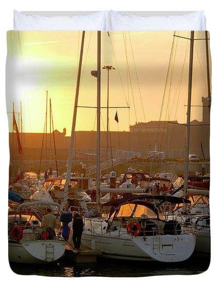 Docked Yachts Duvet Cover by Carlos Caetano