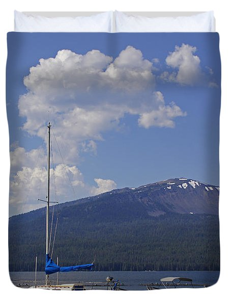 Docks At Diamond Lake Duvet Cover by Mick Anderson