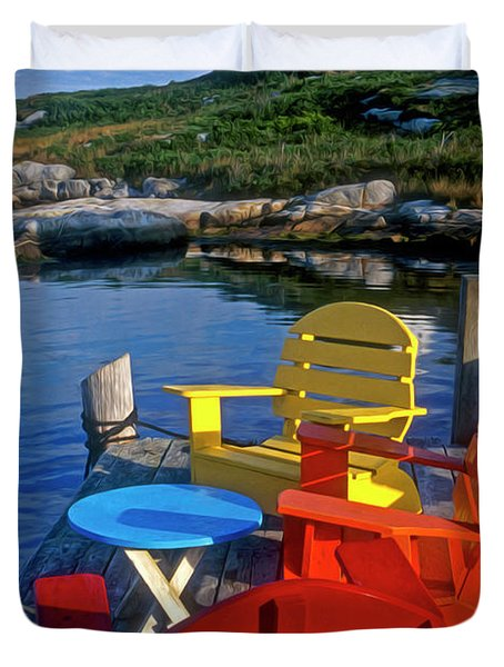 Dockside At Peggys Cove Duvet Cover by Dave Mills