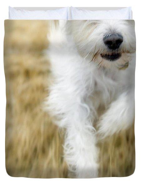 Dog Running Duvet Cover by Darwin Wiggett