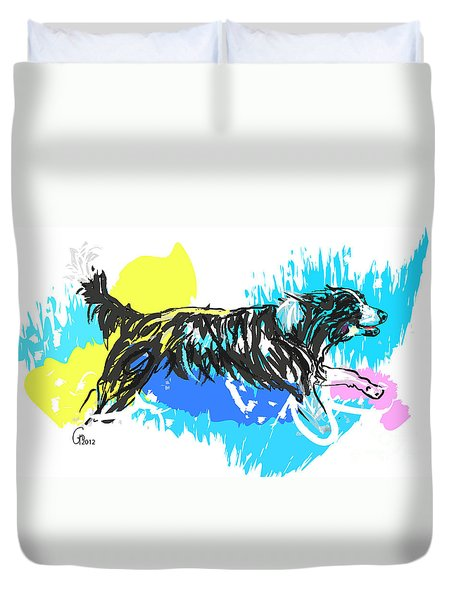 Dog Running In Water Duvet Cover