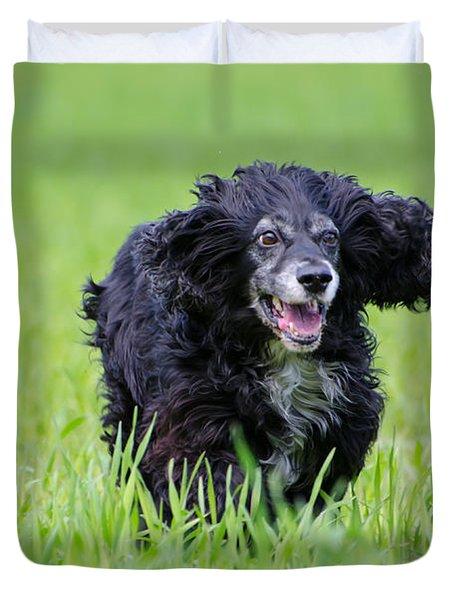 Dog Running On The Green Field Duvet Cover