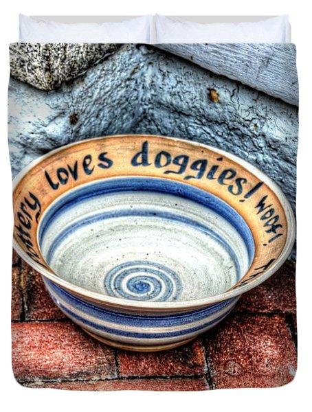 Doggie Dish Duvet Cover by Debbi Granruth