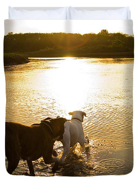 Dogs At Sunset Duvet Cover by Stephanie McDowell