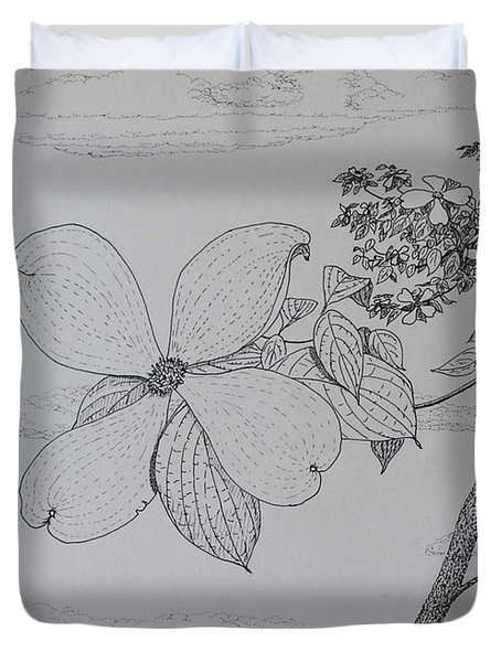Duvet Cover featuring the drawing Dogwood  by Daniel Reed