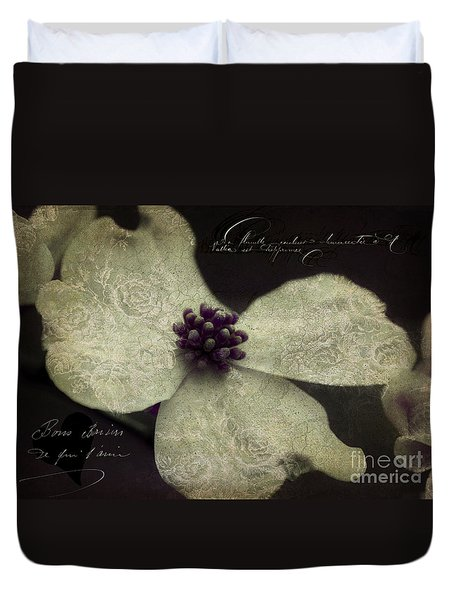 Dogwood  Lace Duvet Cover by Karen Lewis