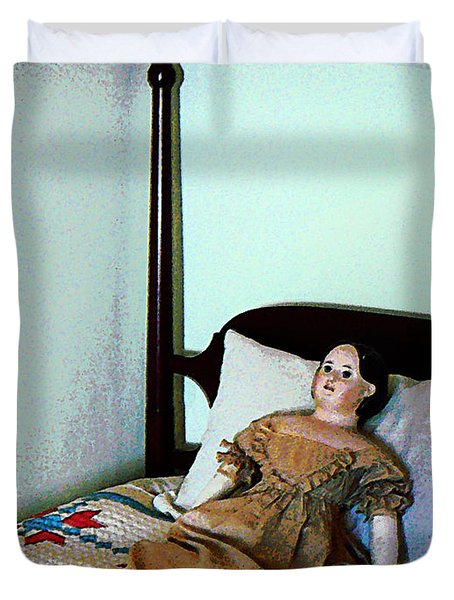 Doll On Four Poster Bed Duvet Cover by Susan Savad