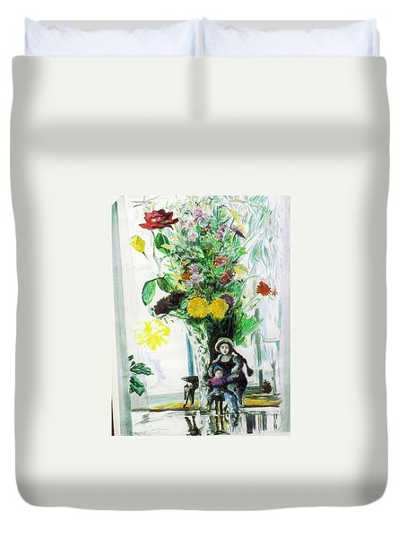 Dolls And Flowers Duvet Cover