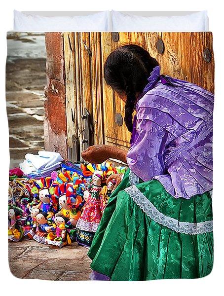 Dolls For Sale Duvet Cover by Javier Barras