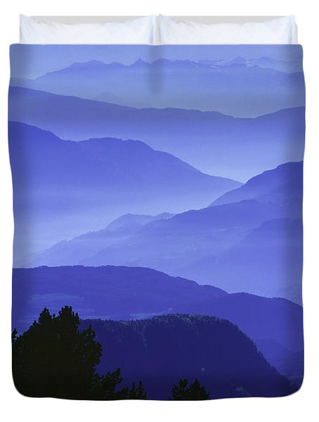 Dolomites Landscape Duvet Cover by Hermann Eisenbeiss and Photo Researchers