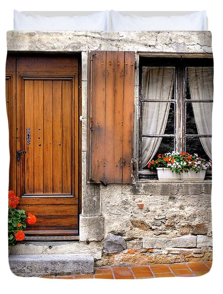 Duvet Cover featuring the photograph Doorway And Window In Provence France by Dave Mills