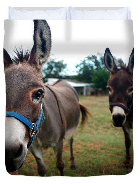 Duvet Cover featuring the photograph Doting Donkeys by Lon Casler Bixby