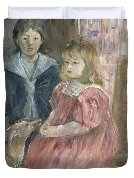 Double Portrait Of Charley And Jeannie Thomas Duvet Cover by Berthe Morisot