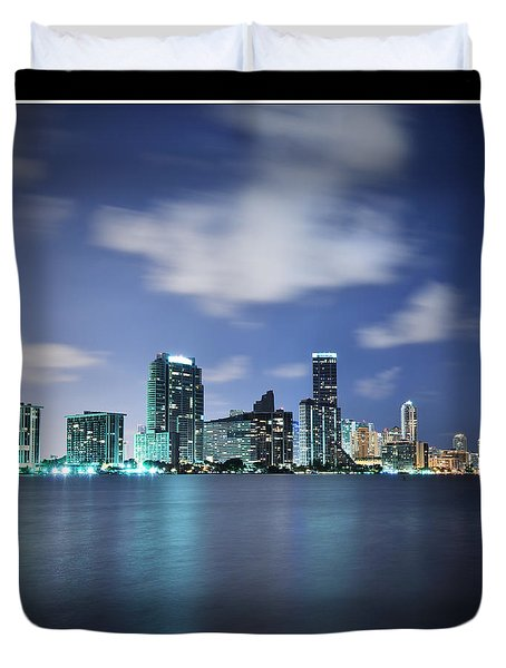 Duvet Cover featuring the photograph Downtown Miami At Night by Carsten Reisinger