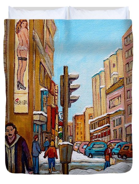 Downtown Montreal Paintings Duvet Cover by Carole Spandau
