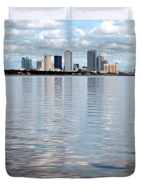 Downtown Tampa Over Hillsborough Bay Duvet Cover by Carol Groenen