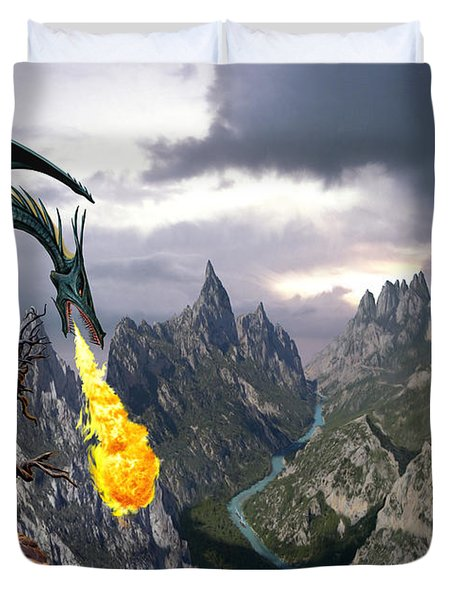 Dragon Valley Duvet Cover by The Dragon Chronicles - Garry Wa