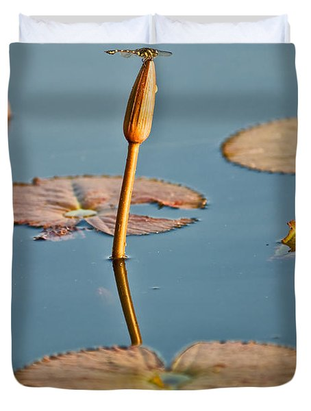 Duvet Cover featuring the photograph Dragonfly And Lotus by Luciano Mortula