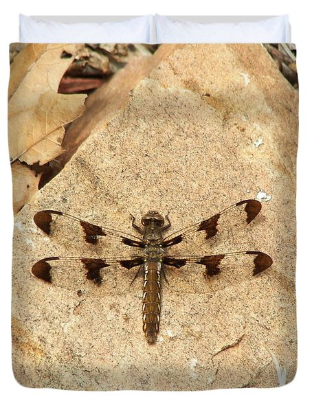Duvet Cover featuring the photograph Dragonfly At Rest by Deniece Platt