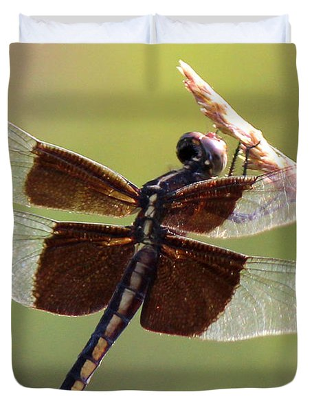 Duvet Cover featuring the photograph Dragonfly Closeup by Kathy  White