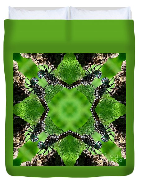 Dragonfly Kaleidoscope Duvet Cover by Smilin Eyes  Treasures