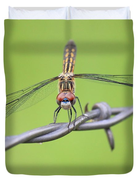 Duvet Cover featuring the photograph Dragonfly On Barbed Wire by Penny Meyers