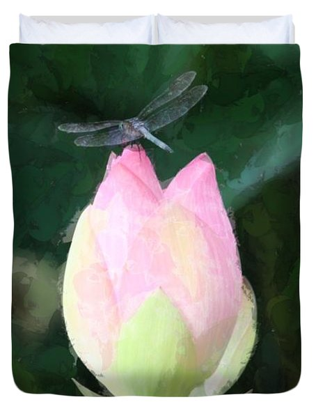 Duvet Cover featuring the photograph Dragonfly On Water Lily by Donna  Smith