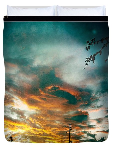 Duvet Cover featuring the photograph Drama In The Sky by Nina Prommer