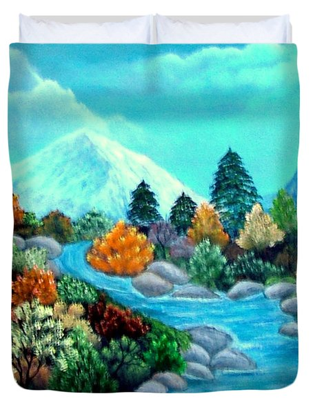 Duvet Cover featuring the painting Dressed For Fall by Fram Cama