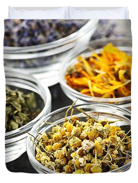 Dried Medicinal Herbs Duvet Cover by Elena Elisseeva