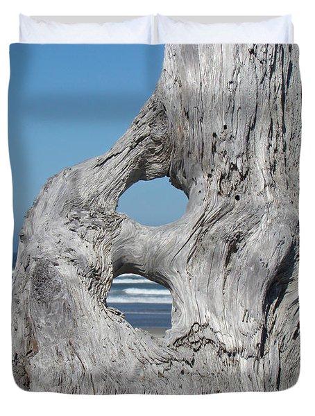 Driftwood Art Prints Coastal Blue Sky Ocean Waves Shoreline Duvet Cover by Baslee Troutman