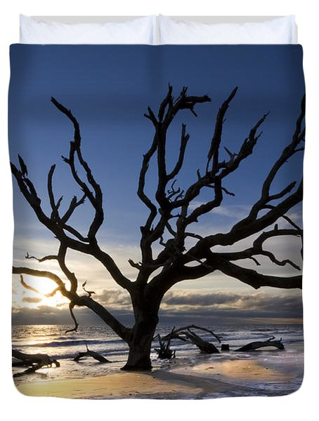 Driftwood Beach At Dawn Duvet Cover by Debra and Dave Vanderlaan