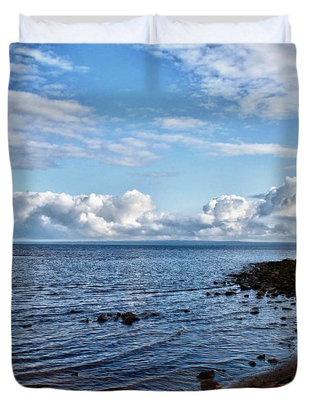 Duvet Cover featuring the photograph Driftwood Crossed by Rachel Cohen