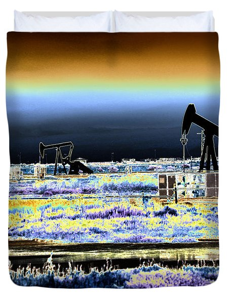 Drilling For Black Gold Duvet Cover by Diana Haronis