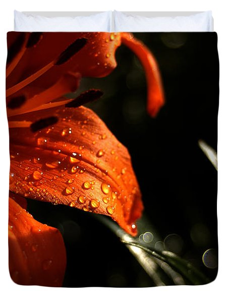 Droplets On Flower Duvet Cover by Vilas Malankar