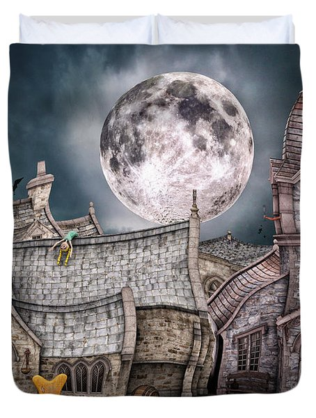 Drunken Village Duvet Cover by Jutta Maria Pusl